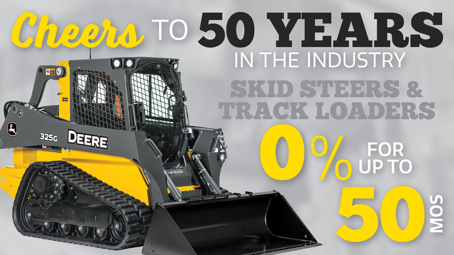 0% for 50 months on Compact Skid Steers & Compact Track Loaders at P&K